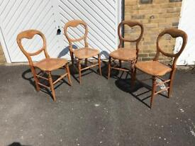 Vintage set of 4 balloon back chairs with cane seats