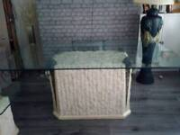 Fossil stone and bevelled edge, thick glass dining room furniture,table and six chairs