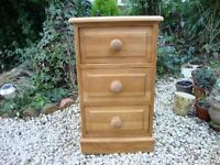 Solid Pine Bedside Three Drawer Unit ( Quality Built ).