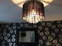 Ceiling drum light in black with crystals with side lamps and mirror