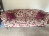 Large four seater settee and cushions