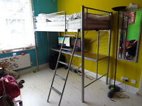 Metal Frame High Sleeper Bed with Integral Desk