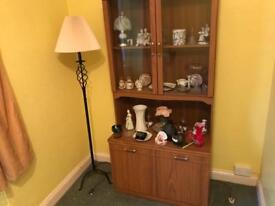 Display cabinet with lights and other display items