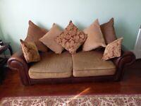 2 x HARVEYS Casablanca BROWN Leather & Fabric SOFA Deep Settees + CUSHIONS