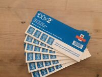 6 x 100 2nd class stamps