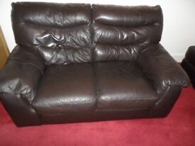 D F S DARK BROWN LEATHER SUITE 2 SEATER, CHAIR & FOOTSTOOL / PUFFE