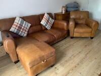 DFS 3 piece Suite Tan Leather