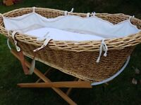 Moses Basket Woven Crib & Stand with bedding