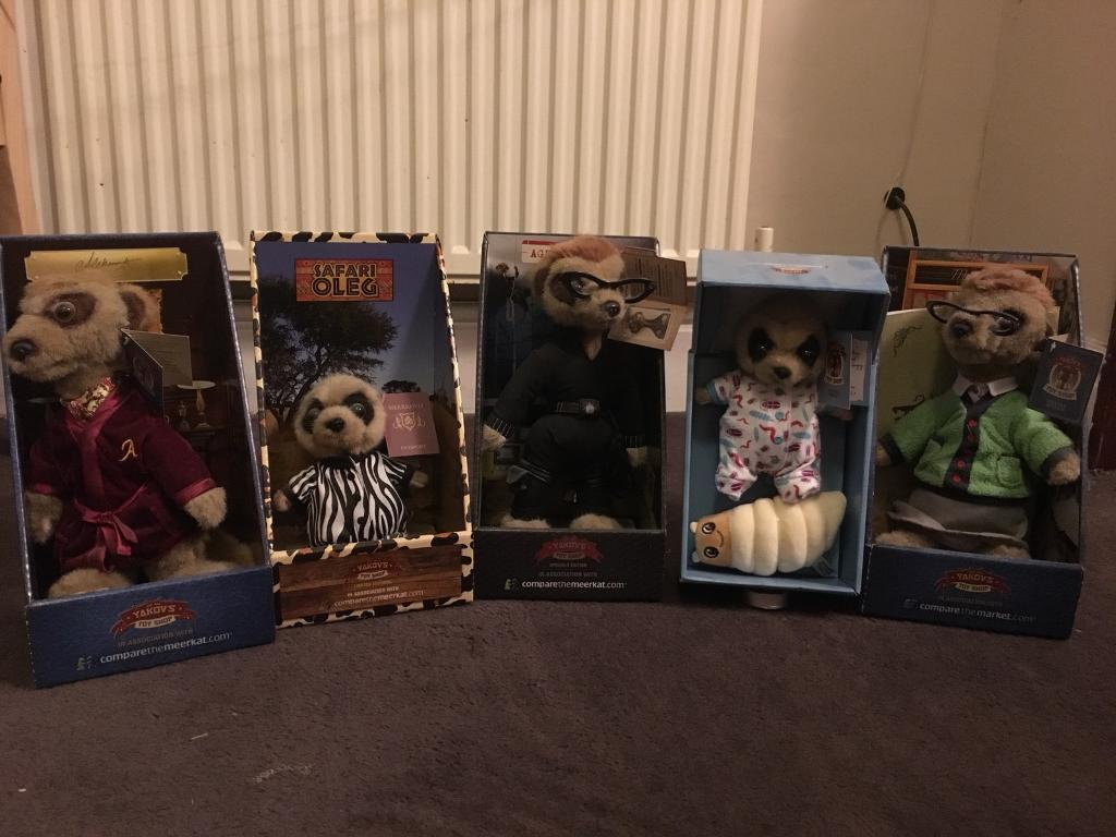 5 x Compare The Meerkat Toys in Original Packaging with Certificates