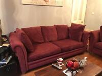 Wine coloured sofa