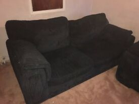 DFS 3 seater and 2 seater with footstool - black