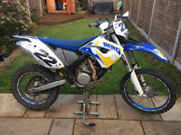 Husaberg FE450 like a KTM enduro motorcross road legal off road bike supermoto