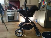 Icandy Peach 2 double buggy, carrycot & Maxi Cosi Cabriofix car seat