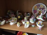 Collection of china flower ornaments