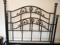 Black wrought iron double bed frame