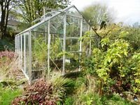Good Quality Aluminium Greenhouse - 8ft x 10ft - Bar capping, louvres, roof vents, toughened glass.