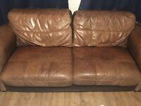 Tan leather sofa 3/2/1
