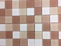 BEIGE,BROWN AND WHITE ALL GLASS MOSAIC 30X30CM CLEARANCE OFFER RRP PER SHEET £24.99
