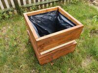 Solid wood garden planter, flower pot, handmade