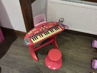 Pink keyboard with music stand mic and stool