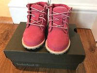NEW. (worn once) Pink Timberland Boots (toddler) Size 4.5