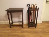 Oak table and umbrella stand fir sale