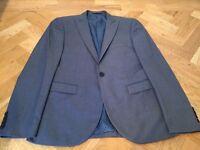 Men's Next Skinny Fit Blue 3 Piece Suit Jacket, Trousers & Waist Coat