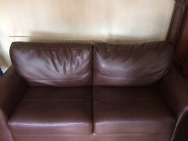 Debenhams brown leather 2 seater sofa bed very good condition