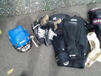 FOR SALE HOCKEY EQUIPMENT WITH SIZE EIGHT SKATES