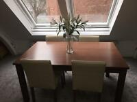 Large Dining table 6 or 4 leather effect chairs