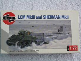 Airfix amphibious landing craft, DUKW light lorry and sherman tank kits