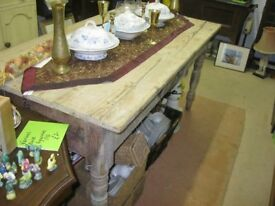 ANTIQUE STRIPPED PINE FARMHOUSE TABLE WITH DRAWER. VIEWING/DELIVERY AVAILABLE