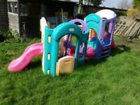 Garden plastic play house with slide