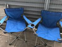 2x Folding Camping Chairs with carrying bags and cup holders
