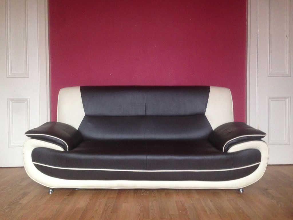 3 2 Sofa Suite Navy White Leather 163 250 Ono Includes