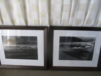 PAIR MODERN HEAVY DARK WOOD FRAMED BLACK AND WHITE PHOTO PRINTS PICTURES MOUNTAIN SCENE BOATS SCENE