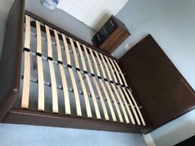 Brown leather double bed & mattress