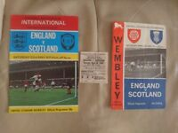 England v Scotland 1965 programme + ticket plus 1971 programme