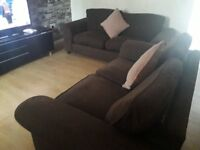 Can deliver harveys 2+3 seater dfs brown fabric sofas very good condition