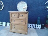 CORONA PINE 4 DRAWER CHEST OF DRAWERS 2 PLUS 2 DRAWER CHEST WITH A NATURAL COLOUR