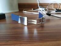 Bristling blue rubber watch strap