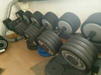 Technogym commercial dumbbell set and 2 rack's