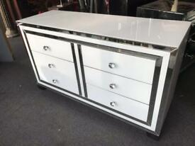 White Glass & Mirrored Chest Of Drawers With Crystal Handles