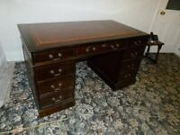 Mahogany leather topped desk with book case topper