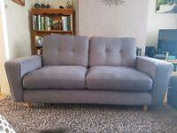 DFS Grey Fabric 3 Seater Sofa & Cuddler Chair