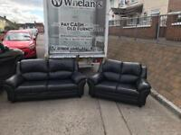 3&2 seater sofa in a thick grade of black leather £325