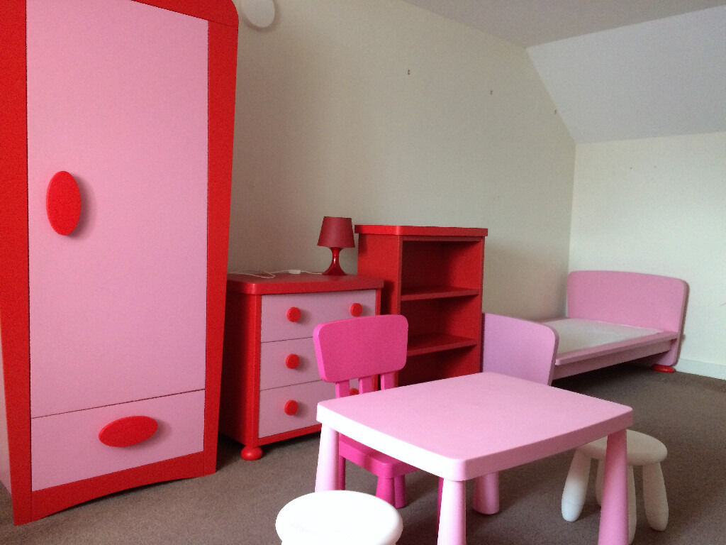 childrens furniture setin Gillingham, KentGumtree - ikea mammut furniture set in pink/red wardrobe , bed & mattress, chest of drawers, bookcase , table & 3chairs £70