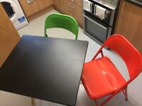 Fold away table and 2 fold away chairs