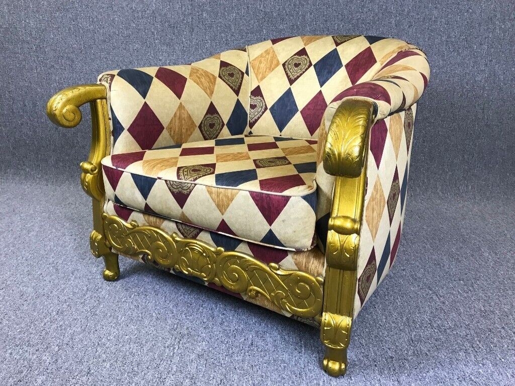 Stupendous Large Gilded Deep Armchair Harlequin Upholstered Tub Chair Throne Chair Delivery Available In Winterton Lincolnshire Gumtree Inzonedesignstudio Interior Chair Design Inzonedesignstudiocom