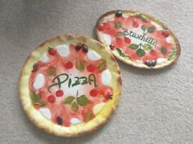 Pizza and Bruschetta serving plates / dishes, handmade in Italy